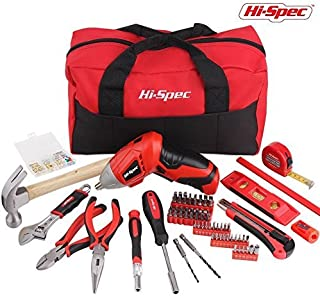 Hi-Spec 160pc Home DIY & Maintenance Tool Set with 4.8v Advanced 2-Position Cordless Screwdriver, 59pc Most Common Screw & Precision Bit Set, Claw Hammer, Crescent Wrench, Pliers & Wall Fixtures Kit