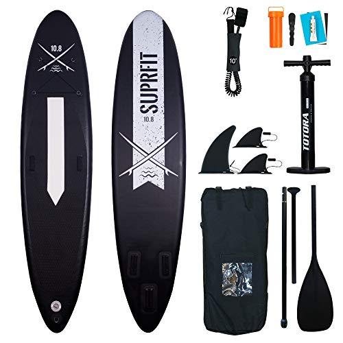 Suprfit SUP Board I Stand up Paddle Board I Komplettset: Paddelboard, Transporttasche, Paddel, Luftpumpe, Sicherungsleine, Reparaturset I Modell Lailani Black: 330 x 78 x 15 cm | max. 130 kg