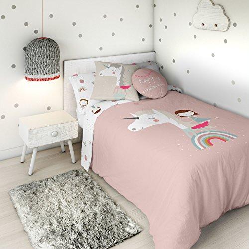 HACIENDO EL INDIO Funda nórdica Reversible Unicorn Pink Cama 90 cm