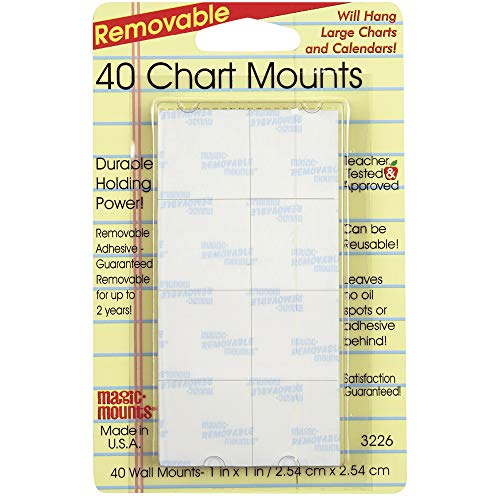 Magic Mounts MIL3226BN Removable Chart Mounts, 1' x 1', 40 Per Pack, 6 Packs