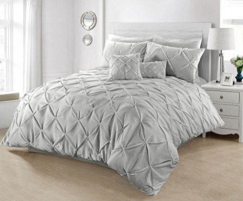SeventhStitch Pintuck Duvet Cover with Pillowcases 100% Percale Cotton Quilt Bedding Covers Single Double King Super King Size Bed Sets (Silver, Double)