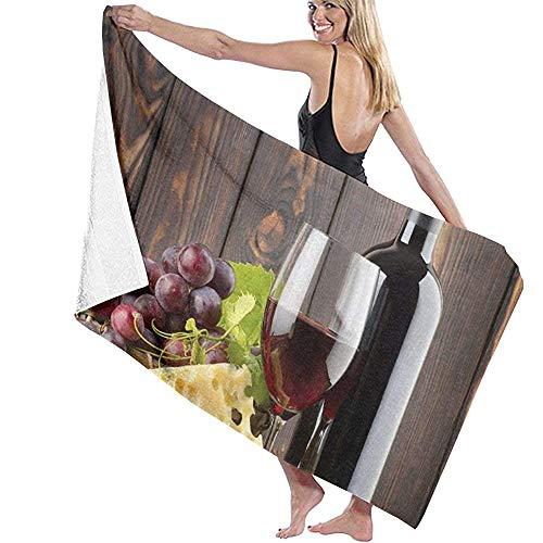 Badhanddoek Wrap Rode Wijn Fles Prints Womens Spa Douche en Wrap Handdoeken Zwembad- Wit