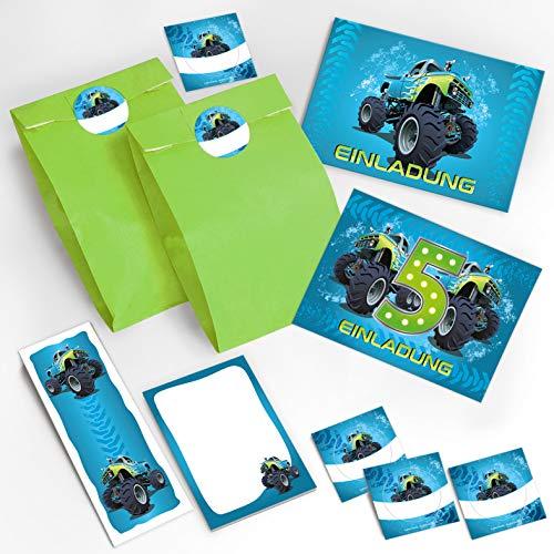 JuNa-Experten 12 Einladungskarten 5. Geburtstag Kinder Junge Jungs Monster-Truck / Auto incl. 12 Umschläge, 12 Tüten / grün, 12 Aufkleber, 12 Lesezeichen, 12 Notizblöcke