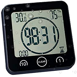 Waterproof Bathroom Clock and Timer for Shower, Digital Water Resistant Shower Alarm Clocks with Suction Cup, Water Proof Bathroom Hanging Wall Clock Humidity Temperature Meter, Touch Screen (Black)