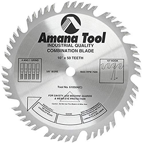 "Amana Tool - (610504) Carbide Tipped Combination Ripping & Crosscut 10"" Dia x 50T 4+1, 15 Deg, 5/8 Bore"