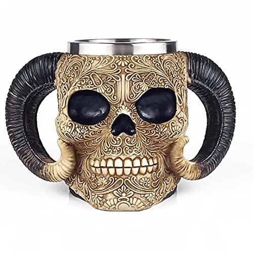 Tazas de Cerveza de Cráneo de Cuerno 3D Retro Resina Acero Inoxidable Esqueleto Medieval Jarra Taza de Café para Cerveza Vino Halloween Navidad
