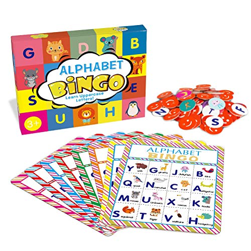 Alphabet Bingo Game Card Board Matching Game Set, ABC Letters Animals Recognition Learning Bingo Paper Game Supplies for Kids, Preschoolers, Classroom, Kindergarten and Group Games
