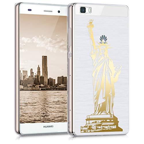 kwmobile Funda Compatible con Huawei P8 Lite (2015) - Carcasa de TPU Statue of Liberty en Dorado/Transparente