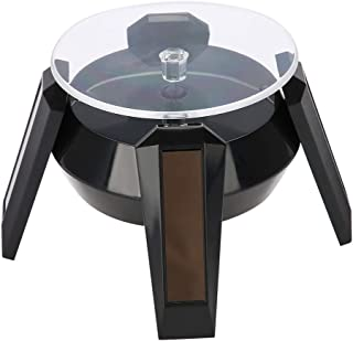 Solar Powered Rotating stand, Solar 360 Degrees Rotating Turntable Watch Phone Jewelry Display Stand Mount Holder with LED Light (Black)