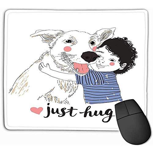 Zachte computer toetsenbord muismat muismat schattige kleine jongen knuffelen zijn vriend grote hond waar vriendschap concert dragen huisdieren concept kan worden gebruikt kinderen rechthoek Rubber muismat 25X30Cm