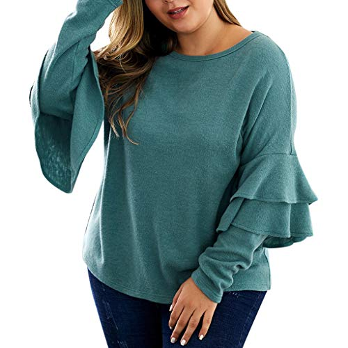 Why Choose RUIVE Women's Plus Size Blouse Fall Long Ruffle Sleeve Crew Neck Casual Loose Pullover ...