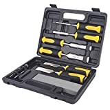 Hurricane 8 pc Premium Wood Chisel Set Cr-V Construction for Woodworking, 6pcs Wood Chisel with 1 Honing Guide, 1 Sharpening Stone, Bi-Material Soft Grip with Hammer End for Woodworking, Carving