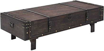 Festnight Coffee Table Storage Chest Solid Wood Vintage Style Living Room Table 120x55x35 cm
