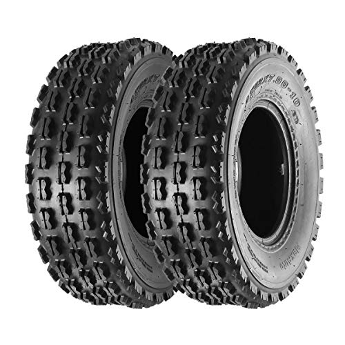 Set of 2 Maxauto 22x7-10 22-7-10 Front ATV Tires Quad Sport ATV UTV Tires 22x7x10 4-Ply Mud Sand Snow and Rock Tires Tubeless Knobby Sport Tires