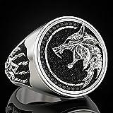 LH&BD Anello in Acciaio Inossidabile da Uomo Odino Fenrir Viking Anello Wizard Warrior Hunter Guffed Wolf Head Wolf Claw Jewelry,Argento,7