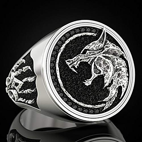 LH&BD Anillo de Acero Inoxidable para Hombre Odin Fenrir Anillo Vikingo Wizard Warrior Hunter en Relieve Lobo Cabeza Lobo Glaw Jewelry,Plata,8