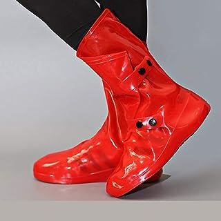Silicone Rain Boots, Silicone Non-Slip Rain Boots, Foldable S, M, L, XL LJJOO (Color : Red, Size : L)