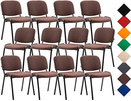 CLP Pack De 12 Sillas De Conferencia Ken Tapizadas En Tela | 12x Sillas De Reuniones Apilables I Set 12 Sillas De Espera Base De Metal I Color: Marrón