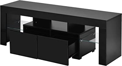 TV Stand Cabinet with LED Light Unit Storage Drawers and Shelves, Modern High Gloss TV Cabinet with Large Media Storage Drawer for Living Room(130 * 35 * 45cm)