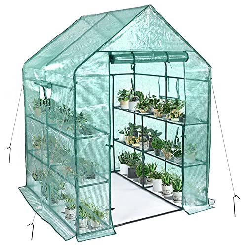 Greenhouse, Portable Greenhouse For Outdoors With PE Cover, 3 Tiers 8 Shelves Walk-In Greenhouses, Include 2 Windows, Anchors And Roll-Up Zipper Door, Small Gardening Greenhouse(56×56×76 Inches)