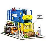 Moligh doll Jouets pour Enfants Maison de PoupéEs Bricolage DIY Maison de PoupéEs Miniature avec Meubles Cadeau d'anniversaire Cadeaux CréAtifs, sans Housse de
