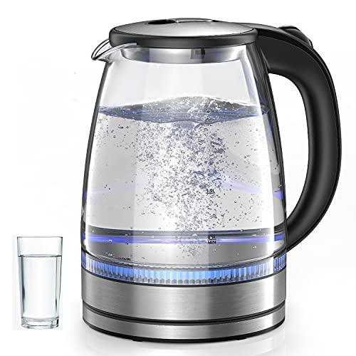 Wasserkocher 1,7 L Glaswasserkocher Schnurlos mit LED-Anzeigelampen, automatischem Abschaltschutz, Edelstahldeckel und -boden2200W tragbarem Elektro-Warmwasserkessel BPA-frei