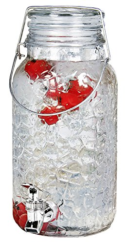 Estilo 1 Gallon Glass Mason Jar Drink Beverage Dispenser with Leak Free Spigot and Bail and Trigger...