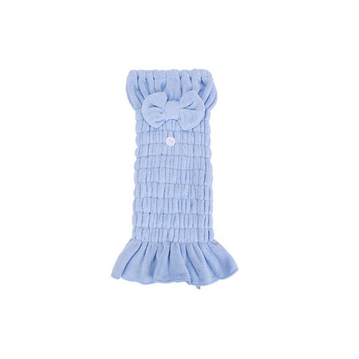 で出来ている引っ張る構造シャワーキャップ、豪華なシャワーキャップのすべての髪の長さと厚さのためのかわいいドライシャワーキャップ、肌に優しいサンゴフリース生地、再利用可能なシャワー。 (Color : A-Blue)
