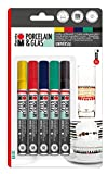 Marabu, 012300082,Set Fantasy di 5 pennarelli per Porcellana e Vetro,Punta Universale 1-2mm, Colori Assortiti Basic