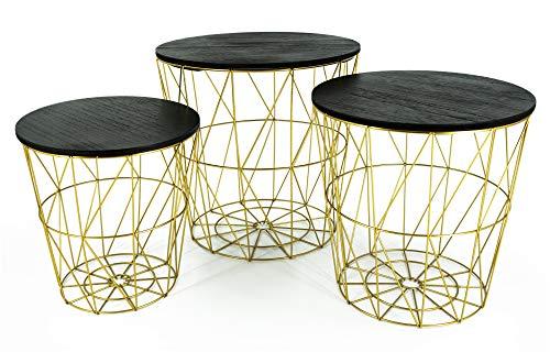 Beistelltisch Tisch mit Stauraum Couchtisch Korb Metall Holz Gold SCHWARZ Nachttisch (Alle Tische, als 3er Set)