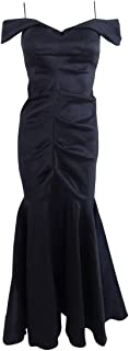 Xscape Women's Long Off The Shoulder Ruched Taffeta Gown