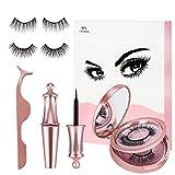 Magnetic EyeLashes and Eyeliner Kit - 2 Pairs of False Lashes with Tweezers