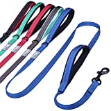 Vivaglory Reflective Dog Leash with Padded Handle, Heavy Duty 5ft Long Safety Training Double Handle Leash Walking Lead for Medium to Large Dogs, Black