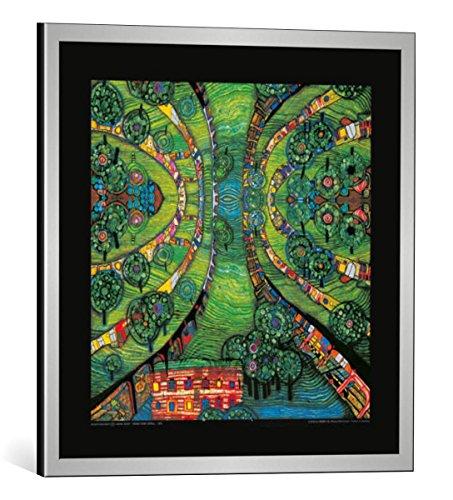 kunst für alle Bild mit Bilder-Rahmen: Friedensreich Hundertwasser Grüne Stadt - Green Town - dekorativer Kunstdruck, hochwertig gerahmt, 48x48 cm, Silber gebürstet