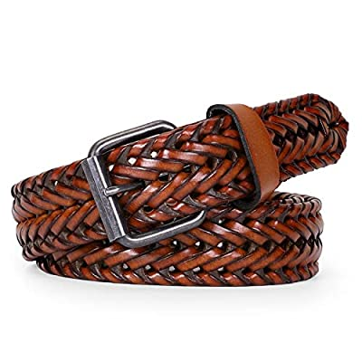 Men's Leather Braided Belt, WERFORU Cowhide Leather Woven Belt for Jeans 1.3 Inch Wide with Prong Buckle,Fits Pants Size 32-37 Inches,3-Brown