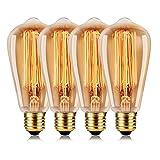 Wedna Edison Lampe 60W ST64 E27 Rétro Edison Ampoule Antique Lampe 220-240V Blanc chaud - 4 Pack