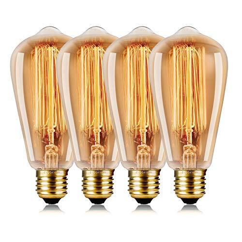 WEDNA Vintage Edison Bombilla 4 Piezas 60w Regulable ST64 E27 Tornillo
