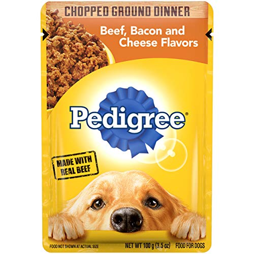 PEDIGREE Adult Wet Dog Food Chopped Ground Dinner Beef, Bacon and Cheese Flavors, (16) 3.5 oz. Pouches