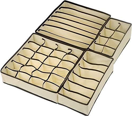 YKKJ Cajas Organizador Plegable ,Organizador Ropa Interior,Organizador Cajones para Almacenar Calcetines, Bufandas, Sujetador ,Calcetines, Ropa Interior, Corbata(4 Unidades, Color Beige)