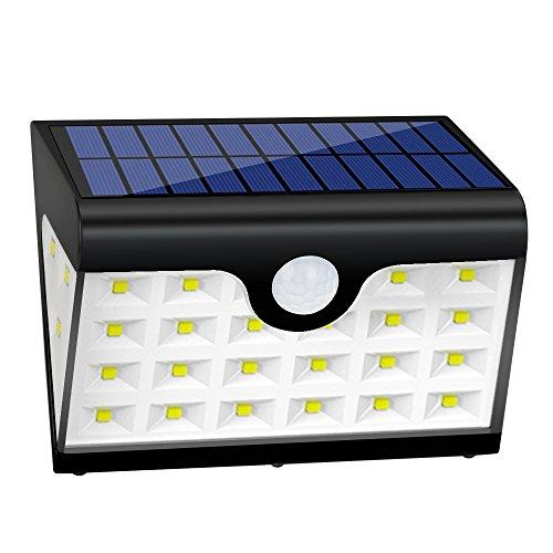 2 Luci Esterne Solari,Lampade Solari Giardino 28 led,300 LM Illuminazione Giardino Solare con Sensore di Movimento,Illuminazione a Tre Lati, Cavo USB,per Angolo,Parete,Cortile,Casa ecc