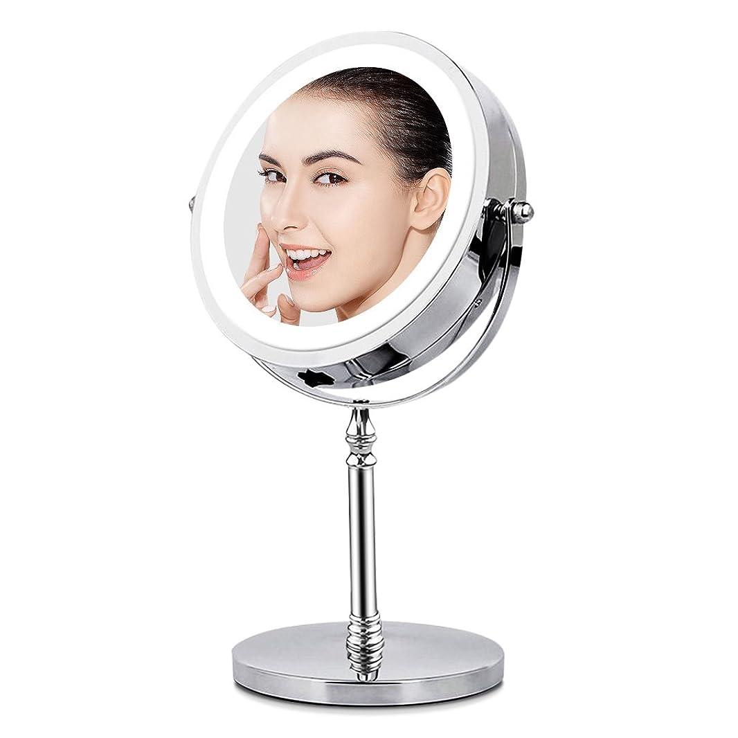 感謝祭ステープル一定BRIGHTINWD LED化粧鏡 「10倍拡大鏡&等倍鏡 LEDライト付き 360度回転」 卓上鏡 両面鏡 メイク道具 スタンドミラー 日本語取扱説明書付き