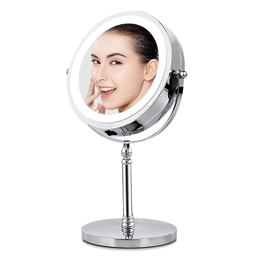 違うロデオ交換可能BRIGHTINWD LED化粧鏡 「10倍拡大鏡&等倍鏡 LEDライト付き 360度回転」 卓上鏡 両面鏡 メイク道具 スタンドミラー 日本語取扱説明書付き