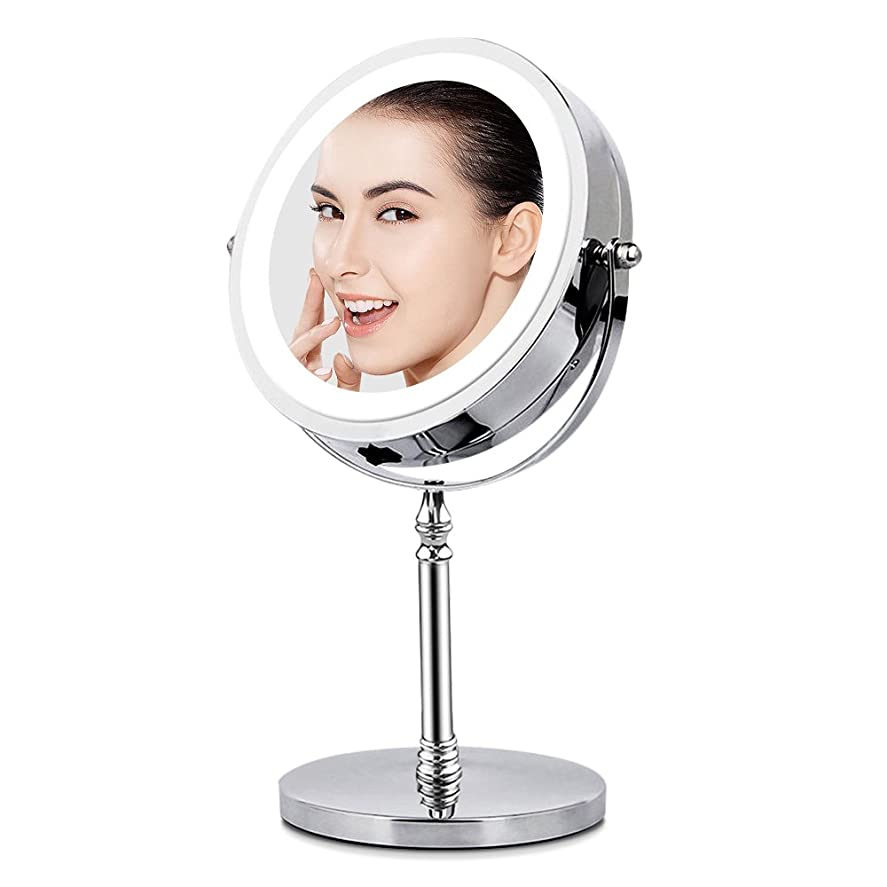 プーノ故障オフェンスBRIGHTINWD LED化粧鏡 「10倍拡大鏡&等倍鏡 LEDライト付き 360度回転」 卓上鏡 両面鏡 メイク道具 スタンドミラー 日本語取扱説明書付き