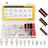 Sanuke Wire Lugs Ring Terminal Connectors AWG10-2 Ends Heavy Duty for Battery Cable Lug tinned Copper Tubular Wire Electrical Eyelets Terminal 11Size 85PCS with 2:1 Heat Shrink Tubing Assortment Kit