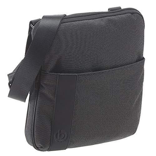 Bugatti Domani Umhängetasche für Herren und Damen Schultertasche Medium Leder, Messenger Bag Kuriertasche, Grau
