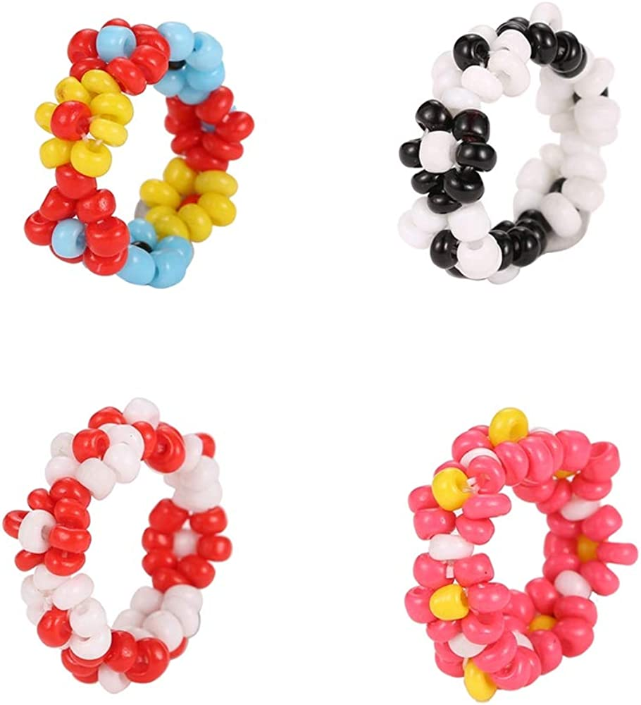 4 Pcs Handmade Colorful Beaded Flower Stretch Ring Multicolor Seed Daisy Multiple Wildflowers Adjustable Size Elastic Plant Ring Vacation Holiday Tour Jewelry for Women Girls