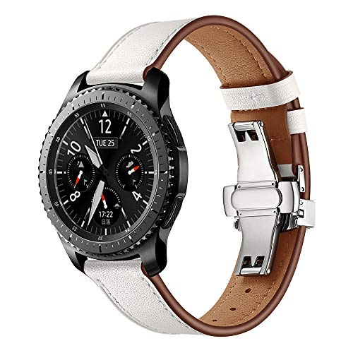 XZZTX Lederen Band Compatibel met Galaxy Watch 46mm Bands, 22mm Vervangende Band Polsband Compatibel met voor Samsung Galaxy Watch 46mm/Gear S3 Smartwatch