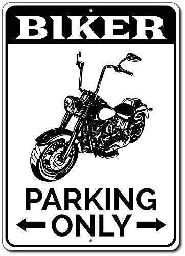 Biker Parking Only Motorcycle Lover Custom Bike Rider Blechschilder, Metall Poster, Retro Warnschild Schilder Blech Blechschild Malerei Wanddekoration Bar Geschäft Cafe Garage