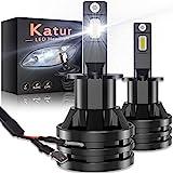 KATUR H3 Ampoules de Phare à LEDs Mini Conception améliorée Puces CREE 12000 lumens Kit de Conversion de phares étanche Tout-en-Un à LED 55W 6500K Blanc xénon-2 Ans de Garantie