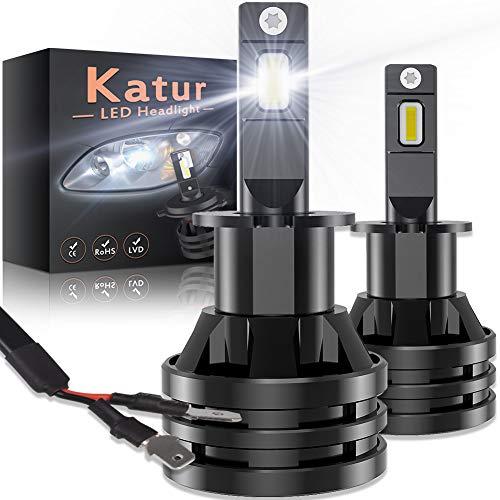 KATUR H3 Led Bombillas para Faros Delanteros Diseño Mini Chips de CREE mejorados 12000 LM Kit de conversión LED Todo en uno a Prueba de Agua 55W 6500K Xenon Blanco-2 años de garantía